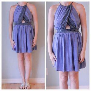 Juicy Couture Blue Silk Open Back Dress Sz 0